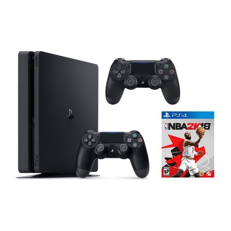 Sony PlayStation 4 Slim, 1TB Gaming Console with 2nd Controller and with NBA 2K18