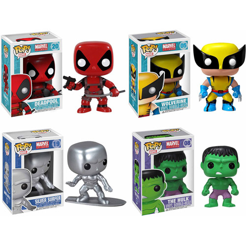 Funko Pop! Marvel Select Vinyl Bobble-head Collectors Set: Deadpool, Silver Surfer, Wolverine, Hulk