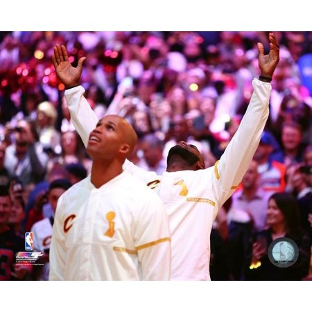 Richard Jefferson   Lebron James Watch The Cleveland Cavaliers Championship Banner Being Raised Before The Game Against The New York Knicks At Quicken Loans Arena On October 25 2016 Photo Print