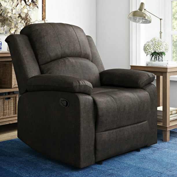 Lifestyle Solutions Reynolds Manual Recliner Faux Suede, Espresso