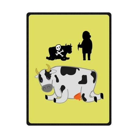 CADecor Dairy Cow Skull Grandma Story Fleece Blanket Throws 58x80 inches