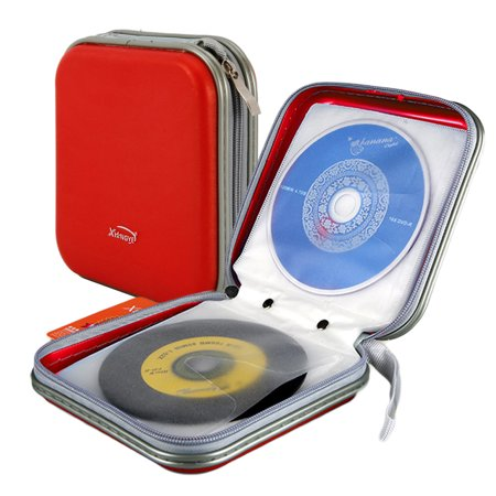 TSV 40 Capacity DVD Storage DVD Case Holder VCD Wallet Organizer Protective Hard Plastic Portable CD Case (Red)
