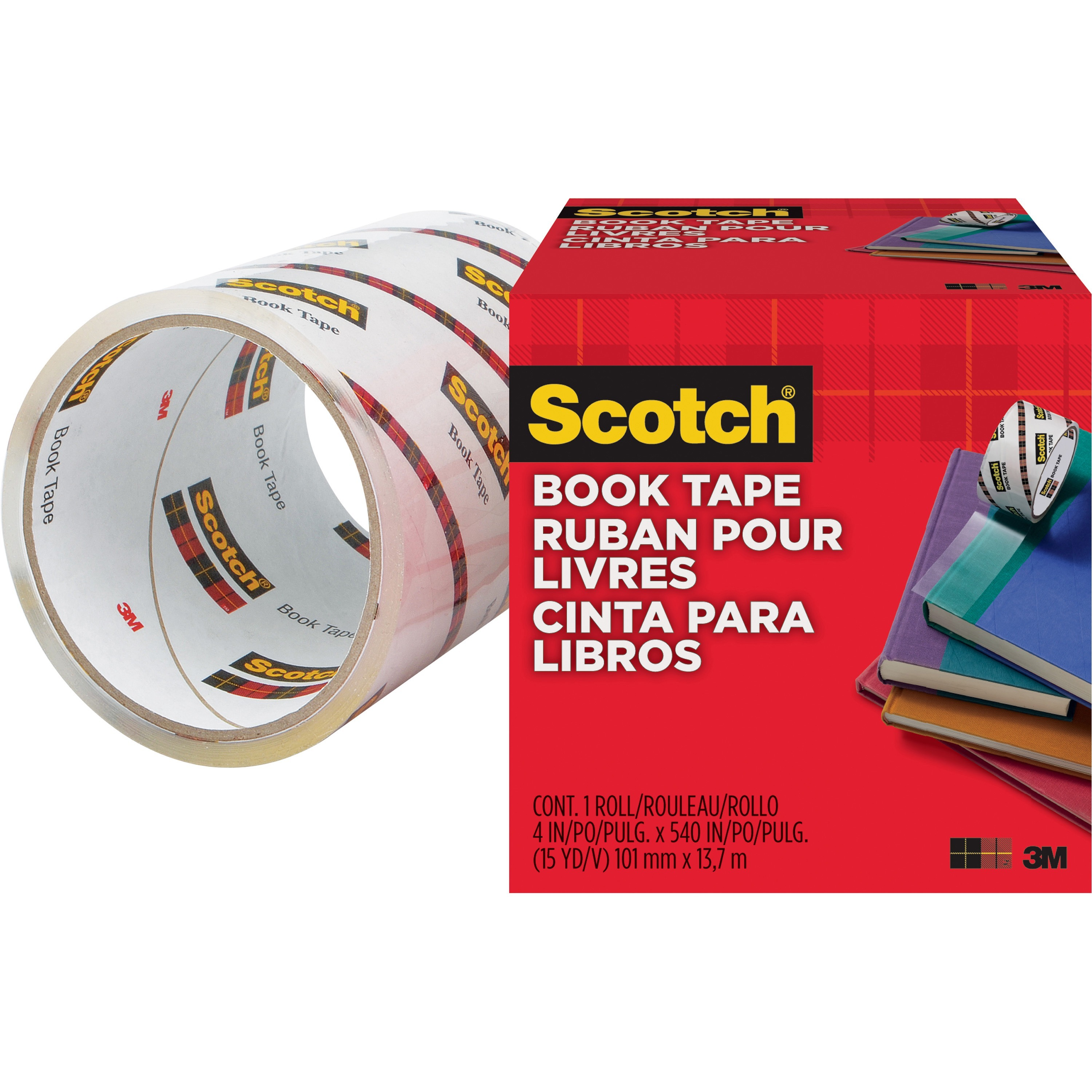 Scotch, MMM8454, Book Tape, 1 Roll, Clear