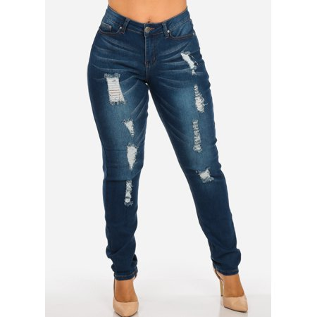 2788f5167cefe ModaXpressOnline - Womens Juniors Plus Size High Rise Distressed Med Wash  Orange Stitching Skinny Jeans 10211R - Walmart.com