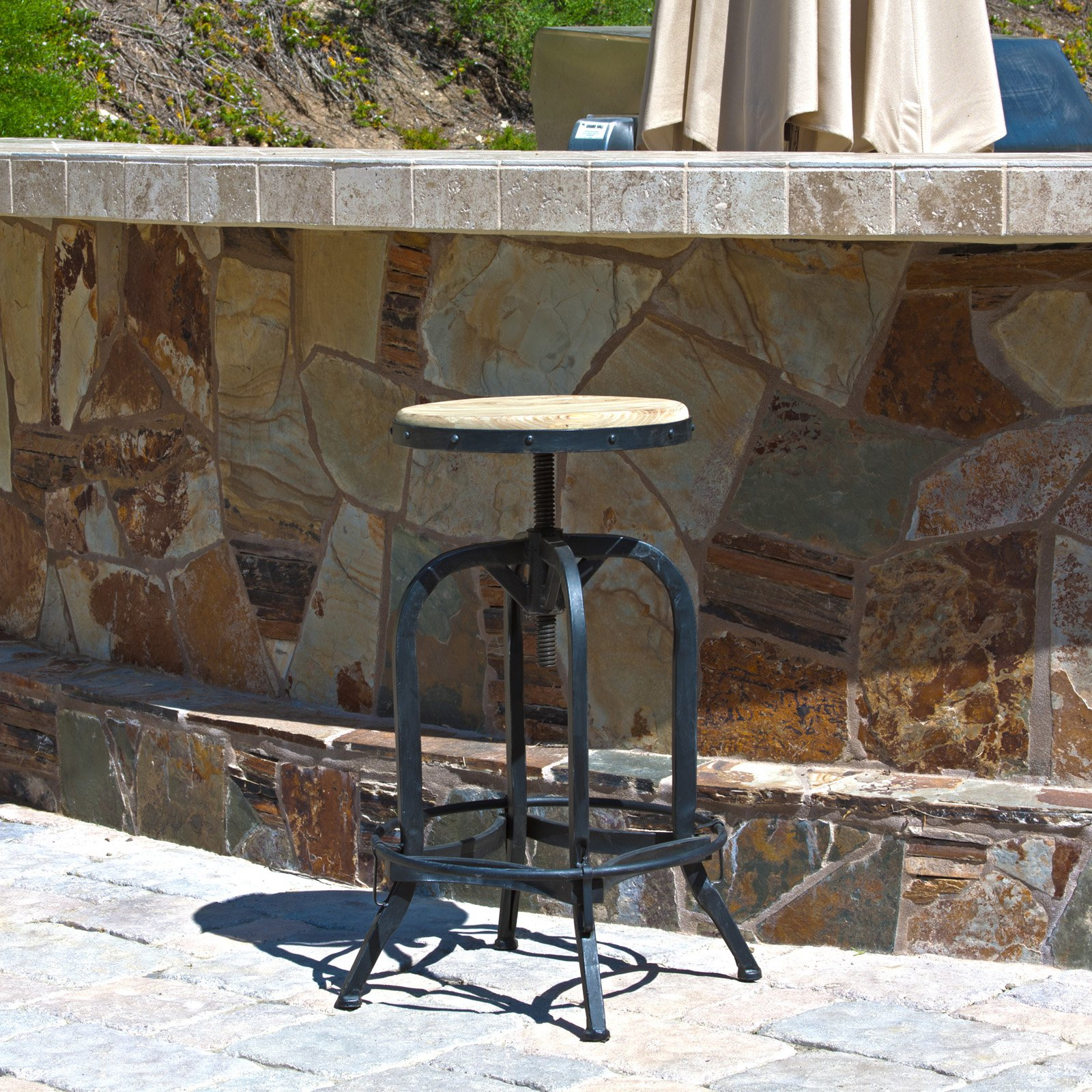 Newman Outdoor Iron and Wood Barstool