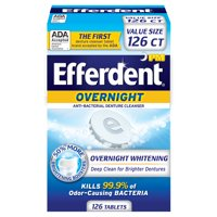 Efferdent Overnight Anti-Bacterial Denture Cleanser, 126 Count