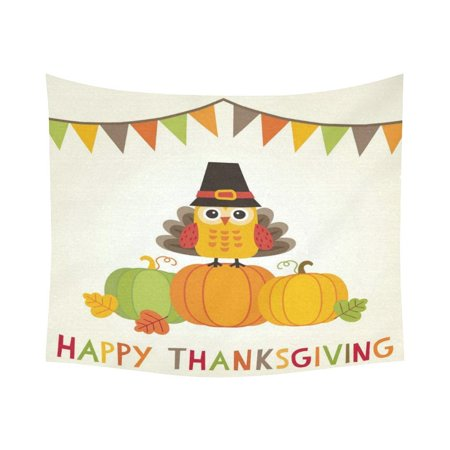 GCKG Flags Cute Owl Turkey Happy Thanksgiving Day Tapestry Horizontal Wall Hanging Celebration Holiday Wall Decor Art for Living Room Bedroom Dorm Cotton Linen Decoration 51 x 60 Inches