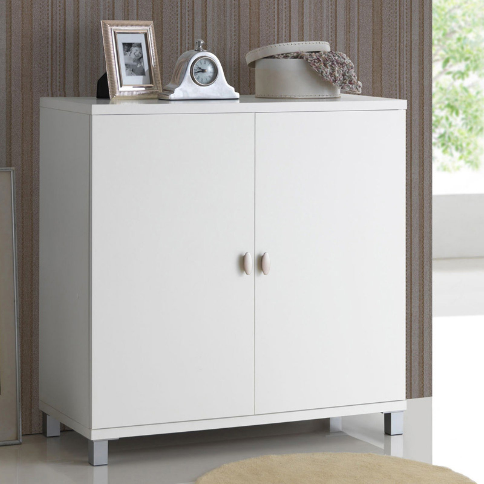 Baxton Studio Marcy Modern and Contemporary White Wood Entryway Handbags or School Bags Storage Sideboard Cabinet by Wholesale Interiors