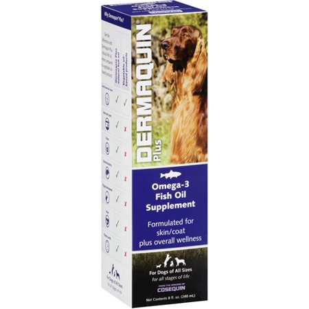 Dermaquin Plus Omega 3 Fish Oil Supplement For Dogs 8 Fl