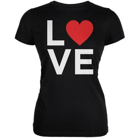 Valentine's Day Love Stacked Heart Black Juniors Soft T-Shirt - Medium Heart Juniors Shirt