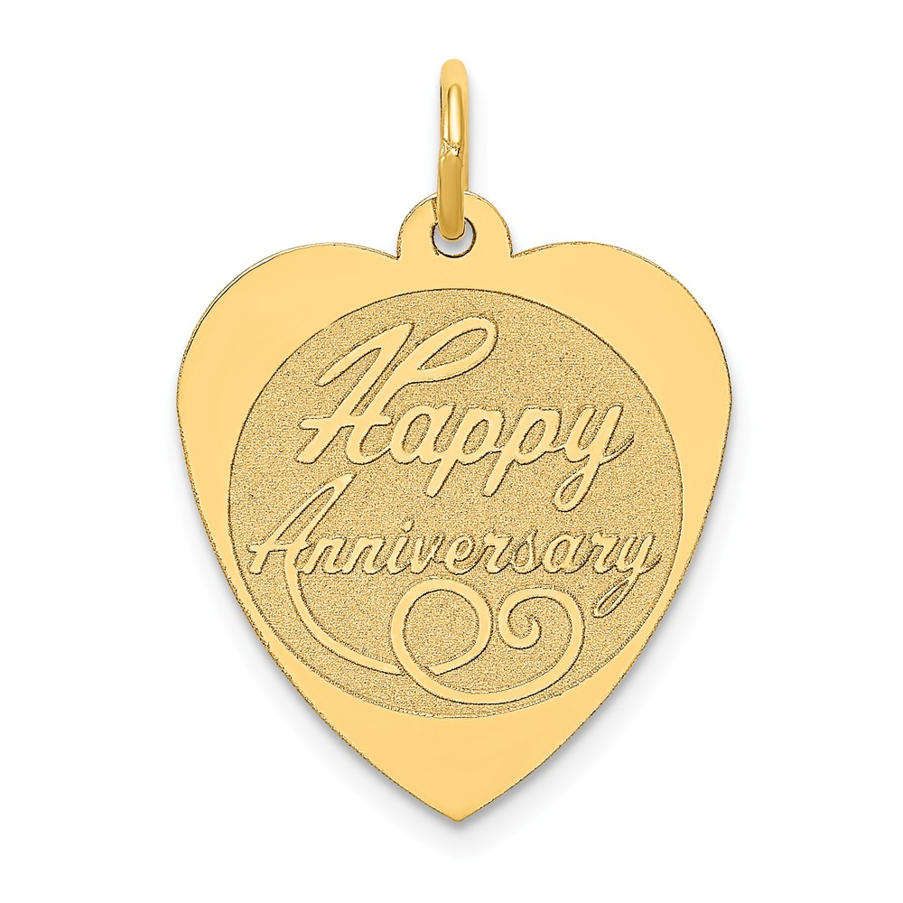 14k Yellow Gold Engravable Happy Anniversary Pendant