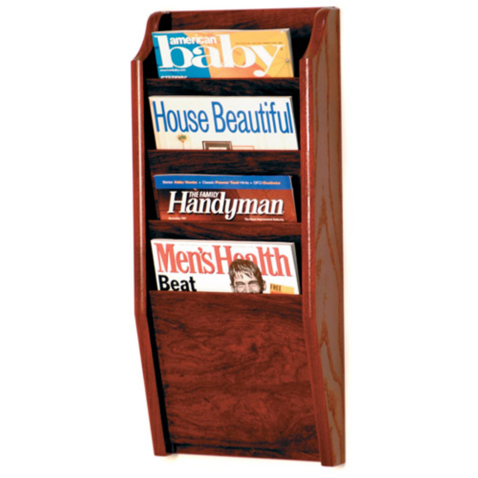 Wooden Mallet 4-Pocket Wood Wall Magazine Rack by Wooden Mallet