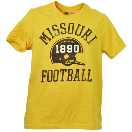 NCAA Missouri Tigers Mizzou Helmet Football Yellow Mens Adult Tshirt Tee Small - Small Football Helmets