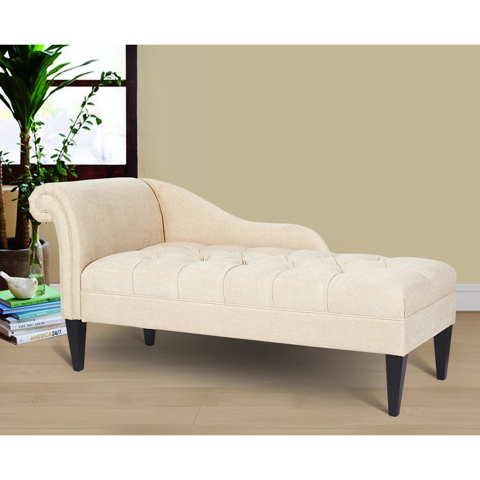 Jennifer Taylor Home, Chaise Lounge, Right Arm Facing, Beige, Hand Tufted