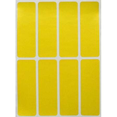Rectangular Color coding labels 3 x 1 inches, Rectangle label in yellow  name tags for kids - 40 pack by Royal Green