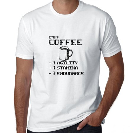 Coffee +4 Agility +4 Stamina +3 Endurance - Video Game Humor Men's