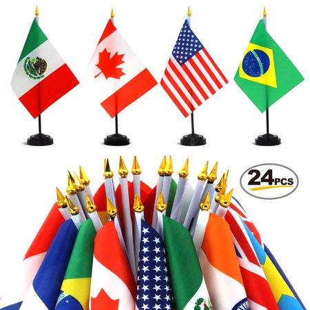 ANLEY 24 Countries Deluxe Desk Flags Set - 7.5 x 5.5 Inches Miniature American US Desktop Flag with 12.5