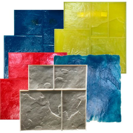5 Ashlar Concrete Stamp Set. Slate Cement Texture Imprint Stamp Mats SM 3003