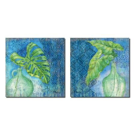 Popular Vibrant Tropical Sea Glass Palm Set ; Two 12x12in Prints. Blue/Green (Poplar Glass)