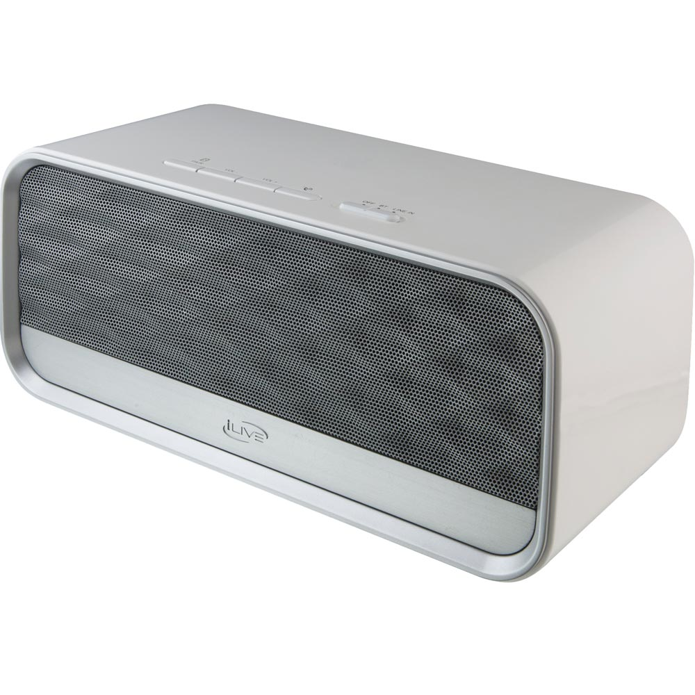iLive ISBN504W Rechargeable Bluetooth Speaker with Speakerphone and NFC, White