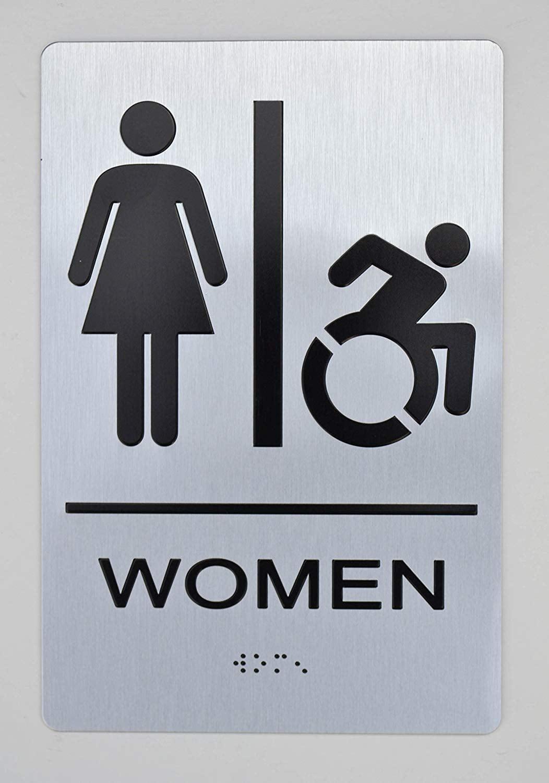 WOMEN ACCESSIBLE RESTROOM SIGN -(Aluminium, Brush Silver ...