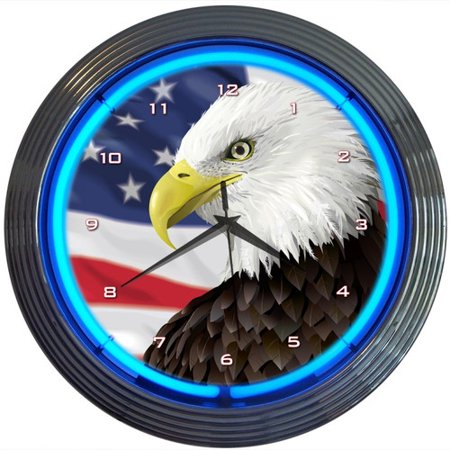 Neonetics Eagle With American Flag Neon 15'' Wall Clock