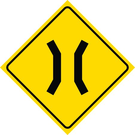 Yellow Diamond Caution Narrow Bridge Ahead Notice Road Sign Commercial Plastic Square Sign, 12x12 Ahead Yellow Sign