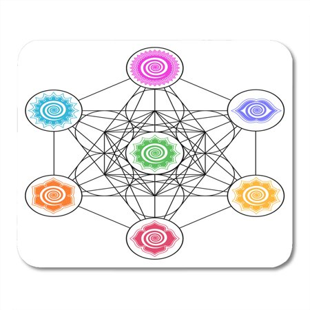 SIDONKU Age Metatrons Cube 7 Chakras Cosmic Energy Centers Geometry Sacred Flower Mousepad Mouse Pad Mouse Mat 9x10 inch