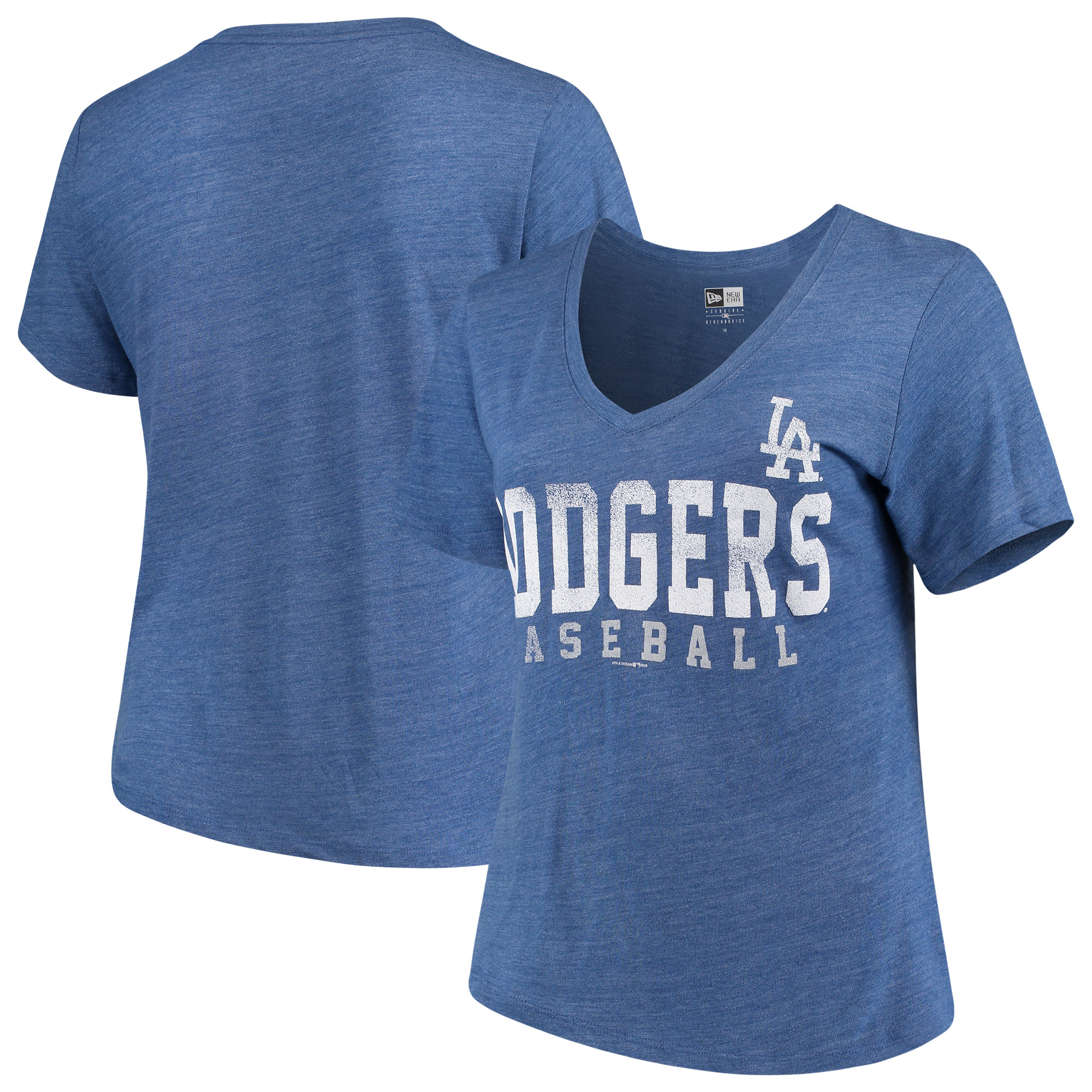 Los Angeles Dodgers 5th & Ocean by New Era Women's Plus Size Tri-Blend Jersey V-Neck T-Shirt - Royal
