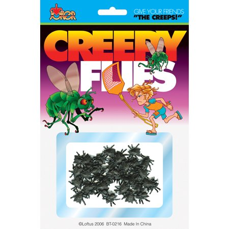 Loftus Creepy Realistic Mini Fly Insect Prank Decoration Pack, Black, 40-50 - Halloween Parent Prank