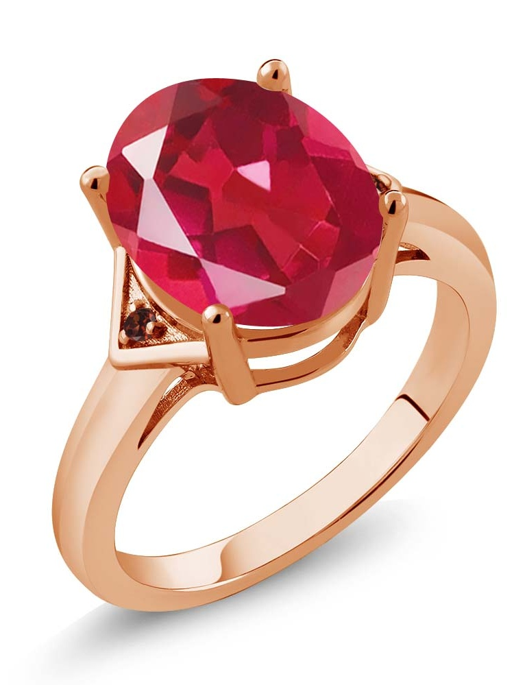 4.02 Ct Last Dance Pink Mystic Quartz Red Garnet 18K Rose Gold Plated Silver Ring by