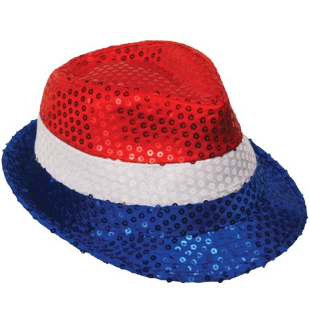 Loftus USA Stripes Independence Day Fedora Hat, Red White Blue,