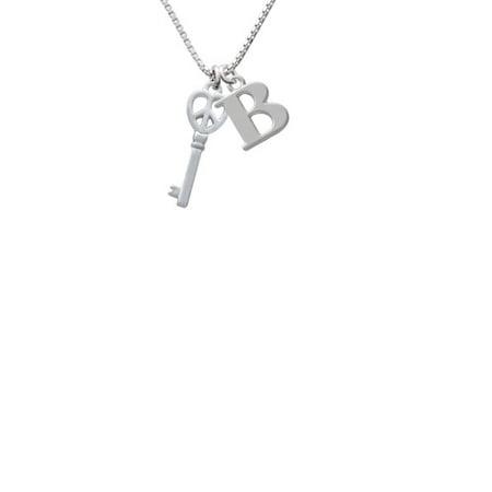 Silvertone Open Peace Heart Key Capital Initial B Necklace