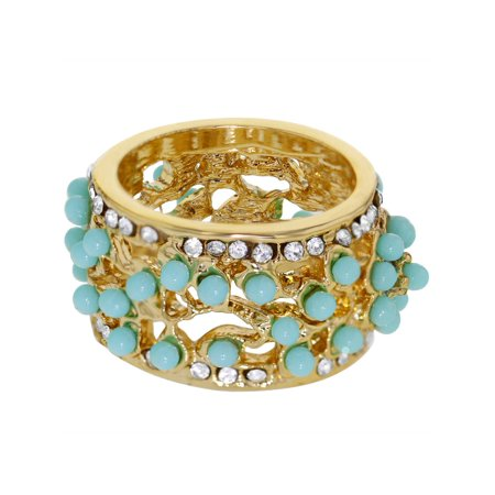 Clear Crystal Cocktail Ring - 18k Gold Plated Aqua Clear Crystal Wide Bohemian Ring Girls Ladies