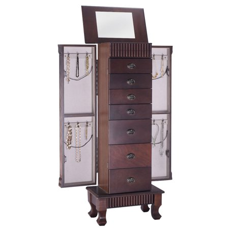 Costway Jewelry Cabinet Armoire Box Storage Chest Stand Organizer Necklace - Tabletop Jewelry Box