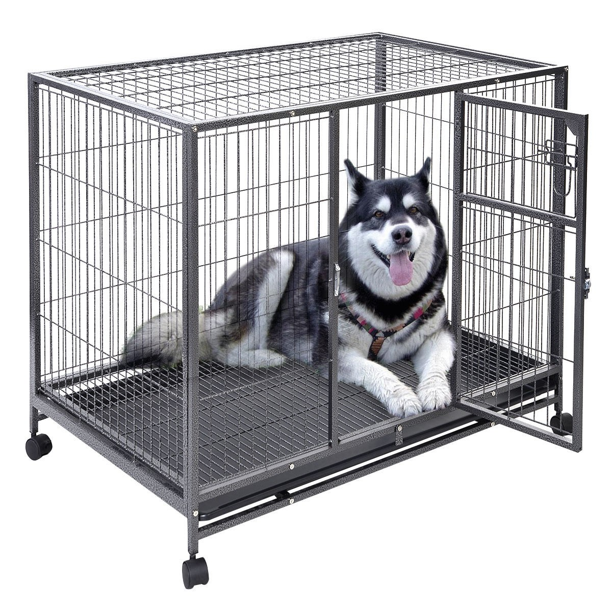 """Heavy Duty Dog Rolling Wheel Cage with Tray Pan, 44"""" x 29"""" x 37"""