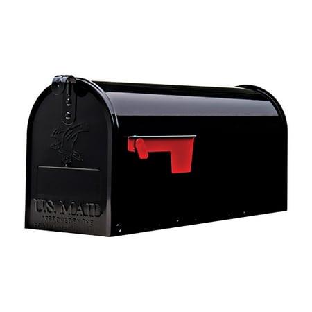 Gibraltar Elite Medium, Galvanized Steel, Black Post Mount Mailbox ()