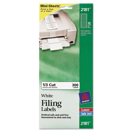 Avery File Folder Labels on Mini Sheets, 2/3 x 3 7/16, White, 300/Pack