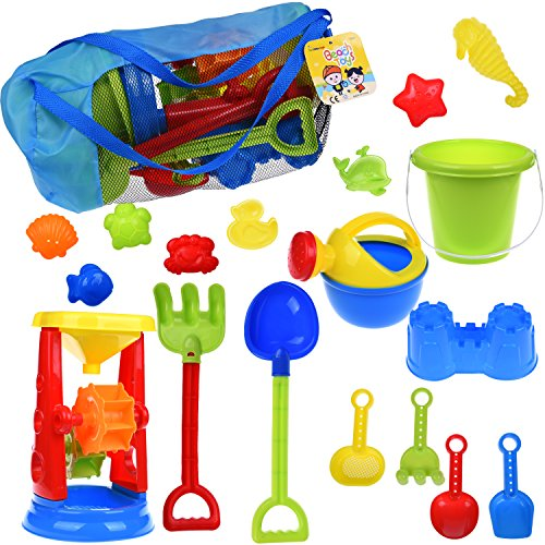 Kids Beach Sand Toys Set for Gift with Sand Molds,Mesh Bag, Sand Wheel,Tool Play Set, Watering Can, Shovels, Rakes,... by Fun Little Toys