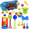 Kids Beach Sand Toys Set for Gift with Sand Molds,Mesh Bag, Sand Wheel,Tool Play Set, Watering Can, Shovels, Rakes, Bucket ,Sea Creatures, Castle Molds 18 PCs