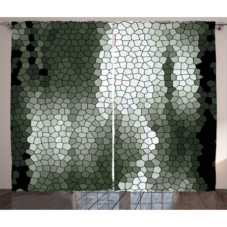 Abstract Curtains 2 Panels Set, Artistic Mosaic Pattern Green and White Tones Geometric Graphic Pixelated Texture, Window Drapes for Living Room Bedroom, 108W X 108L Inches, Multicolor, by - Tumbled Mosaic Pattern