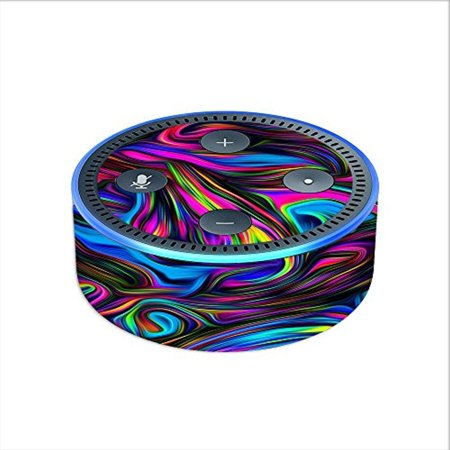 Skin Decal Vinyl Wrap For Amazon Echo Dot 2  2Nd Generation    Neon Color Swirl Glass