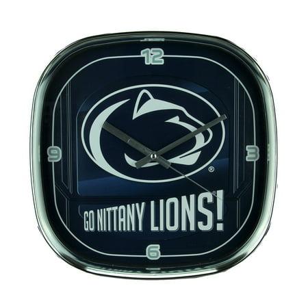 Navy Art Glass Frame - Penn State University Nittany Lions Glass Face Wall Clock Chrome Finished Frame