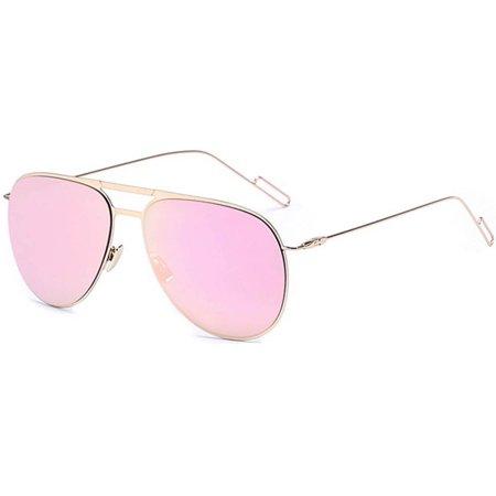 64346ddc6 OWL - OWL Eyewear Sunglasses 86008 C5 Women's Metal Aviator Gold Frame Pink Mirror  Lens - Walmart.com