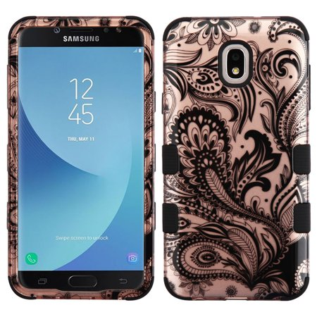 TUFF Hybrid Series Phone Protector Cover Case and Atom Cloth for Samsung Galaxy J7 2018 J737 (J7 V 2nd Gen, Aero, Refine, Star) - 2D Paisley Flowers
