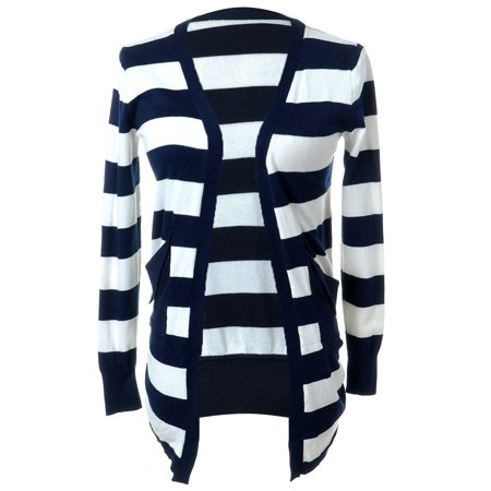679f8fce834 Feinuhan - S M Fit Blue and White L S Open Draped Long Striped Pocketed  Sweater - Walmart.com