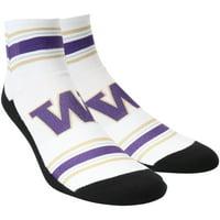 Washington Huskies Rock Em Socks Classic Stripes Quarter-Length Socks - White - L/XL
