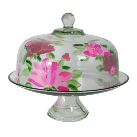 Pink Peony Floral Hand Painted Glass Convertible Cake and Pie Dessert Dome 13""