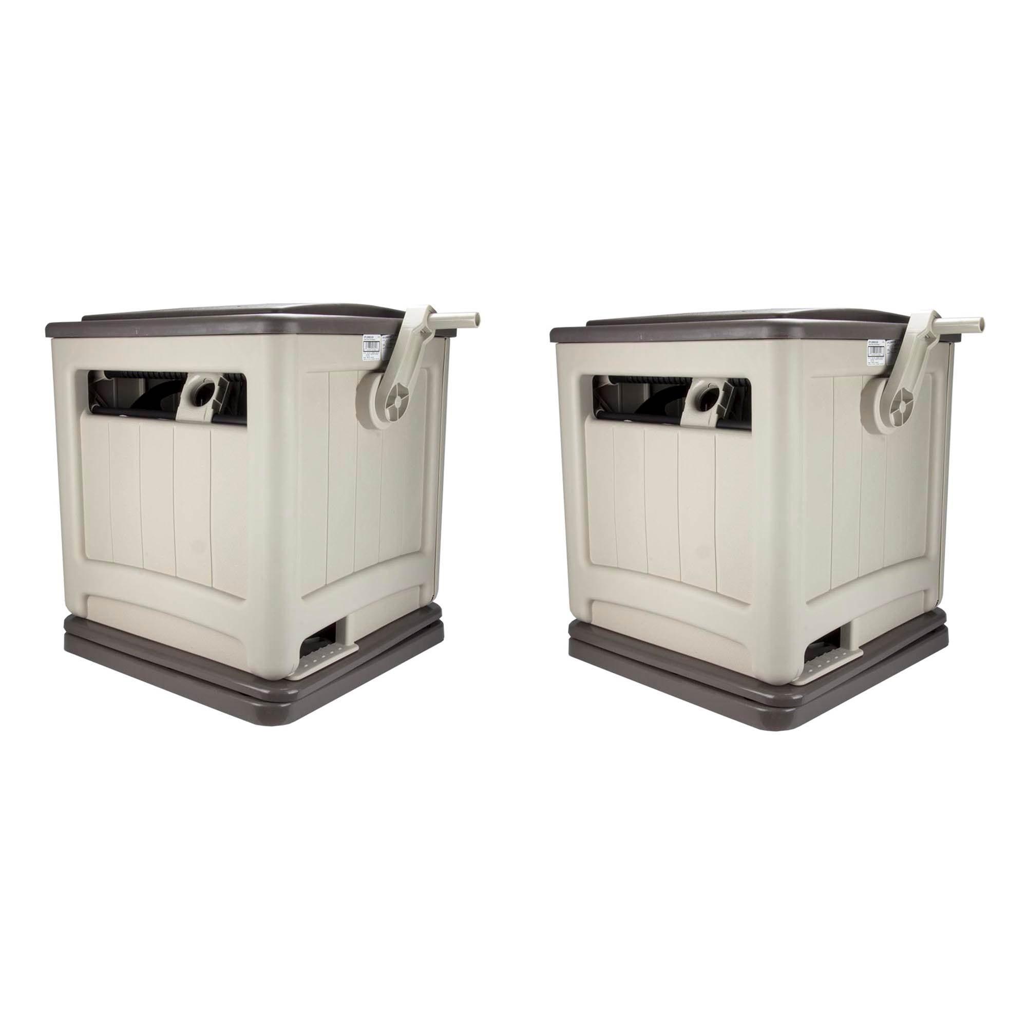 Suncast Swivel Smart Trak Hose Hideaway 225 Foot Hose Reel Storage Bin Taupe