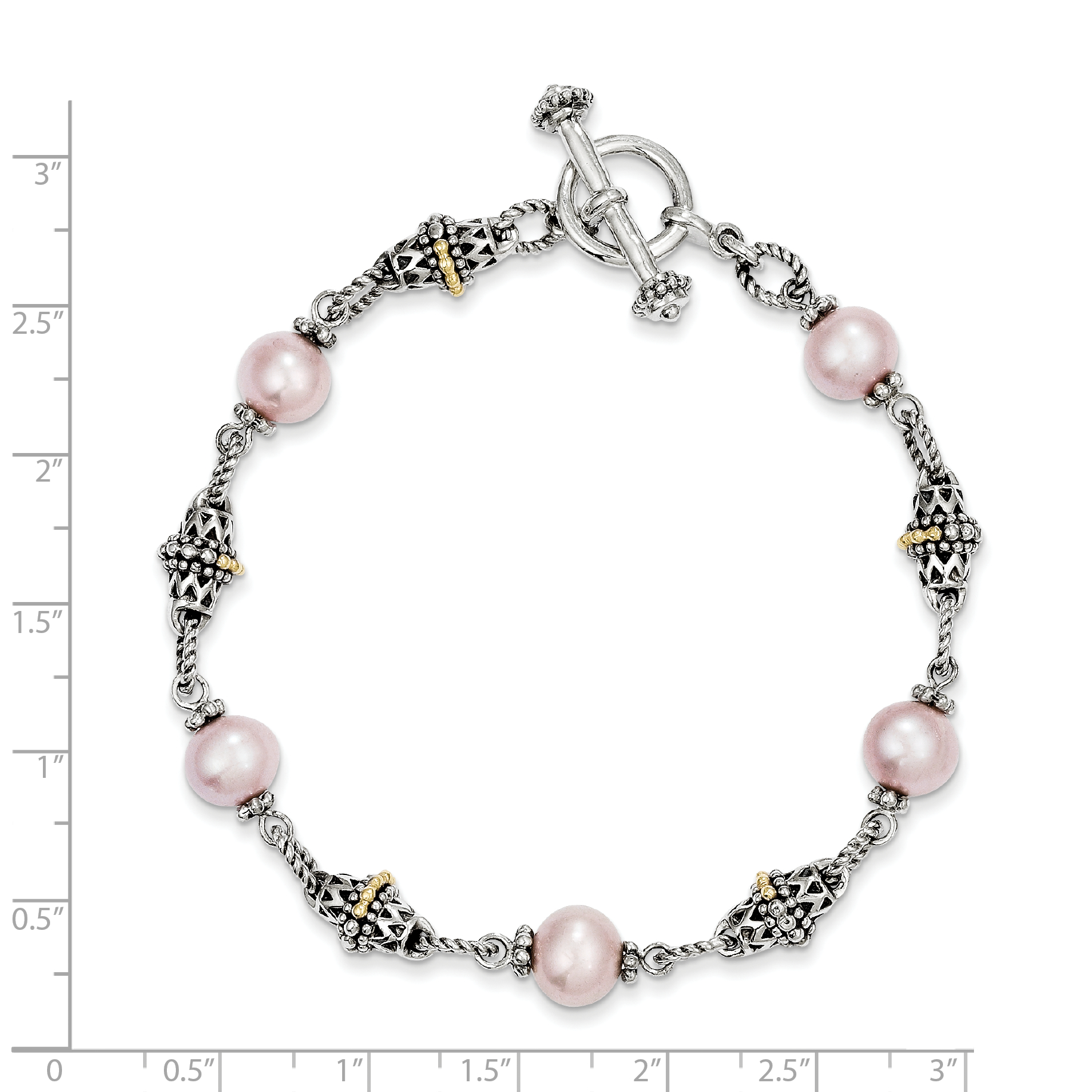 Sterling Silver Two Tone Silver And Gold Plated Sterling Silver w/9-10mm FW Cultured Pink Pearl 7.5in Bracelet - image 1 de 2